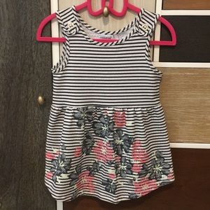 Black and white striped top w flowers and buttons